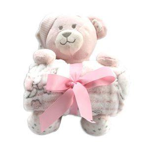 oso peluche con mantita para niña